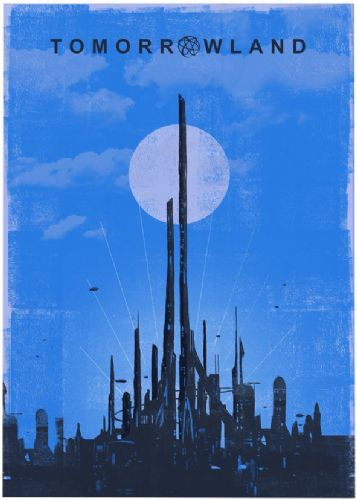 2010's Movie - TOMORROWLAND MINIMAL BLUE canvas print - self adhesive poster - photo print